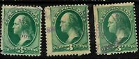 "Year Date Cancels""1879 1880"" SON 3 Cent Green 147-158-184-207 US Stamp 34C84"