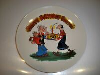 HAPPY 50TH BIRTHDAY POPEYE COLLECTIBLE PLATE 8 1/2''