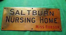 "c1900  Brass Bronze Saltburn Nursing Home Antique Sign Plaque 18"" X 7""  2.2kg"