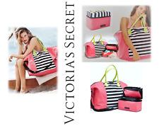 New VS Victoria's Secret Getaway Travel Tote & Lingerie Bra Bag Stripe Pink Set