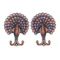 2x Peacock Drapery Curtain Tiebacks Holdbacks Wall Hooks Holders Home Decor F2B3