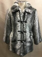 Pamela McCoy Snow Leopard Faux Fur/Black Satin Reversible Women's Coat Jacket