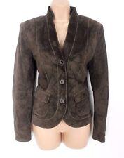 Women's Vintage GERRY WEBER Hips Fitted Brown Real Leather Blazer Jacket UK12