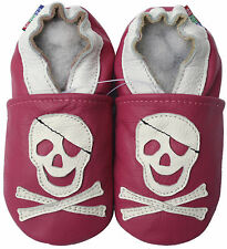 shoeszoo (carozoo) new soft soled leather infant baby shoes pirate fuchsia 0-6m