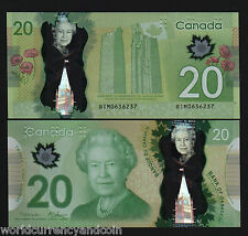 CANADA 20 DOLLARS 2012 QUEEN POLYMER MAPLE LEAF NATIVE ART UNC CLOCK TOWER NOTE