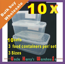 10 X Set of 3 Plastic Food Storage Containers Clear Container Wholesale BULK