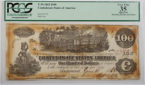 T-39 1862 $100 Dollar Confederate Currency Note PCGS VF-35 Apparent AKR (B)