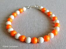 NEON luminosi Arancione & Ivory Crema Perle Argento Sterling Bracciale fatto a mano