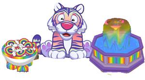 Webkinz Soft Rainbow Tiger Rainbow Gummy Dispenser & Rainbow Fountain LOT PROMO