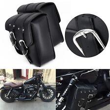 2x Moto pelle Lato Borsa da Sella per Harley/Sportster XL883 XL1200 Nero