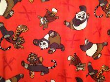 "Kung Fu Panda Fleece fabric on orange red, 60"" by 32.5"""