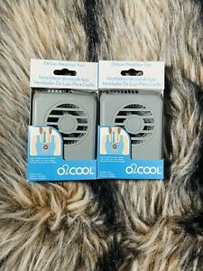 2- New O2COOL Deluxe Personal Necklace Fan | Hands Free Battery Operated Grey