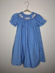 Kelly's Kids Blue Smocked Short Sleeve Dress White Mouse Size 5/6