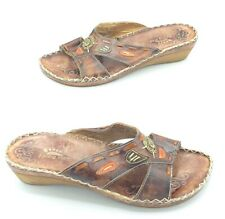 Spring Step Womens Size 40 Leather Aztec Wedge Slide Sandals Brown