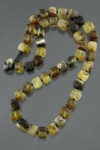 Genuine BALTIC AMBER Greenish Cube Beads Knotted UNISEX Necklace 38g 201105-4