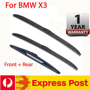 Windscreen Wiper blades suit BMW X3  E83  2004 - 2010 Pair Front + Rear