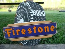 OLD VINTAGE FIRESTONE TIRES DIE CUT PORCELAIN ENAMEL ADVERTISING SIGN