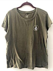 Volcom T Shirt Women's Size M Green Soft Short Sleeve Logo Crew Neck Tee