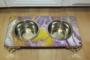 Raised Dog-Cat Feeding Table with 1QT Bowls - PURPLE & YELLOW