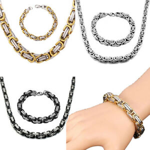 Fashion Mens Women Stainless Steel Byzantine Necklace Bracelet Bangle Box Chain