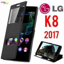 Custodia LG K8 2017 Flip Cover Libro Portafoglio Finestra Doppia Protezione