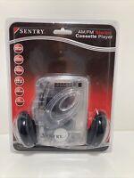 Sentry AM/FM Stereo Cassette Player Model: TR792 Clear Transparent Housing