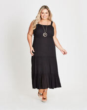 Autograph Black Tiered Beach Holiday Party Maxi Dress Short Sleeve 16