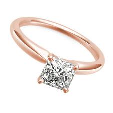 DIAMOND RING PRINCESS CUT AUTHENTIC 4 PRONGS 14K ROSE GOLD RED 2 CT WEDDING