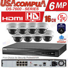 Hikvision 16 CH 8 POE Security System NVR KIT 2MP Dome POE Camera (HDD INCLUDED)