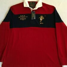 Polo Ralph Lauren Mens Red Blue Rugby Bear Graphic L/S Classic Fit Shirt Large L