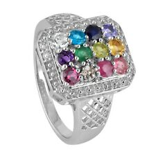 Natural Multi Color Gemstone Diamond Women's Ring 925 Sterling Silver 5.80G US10