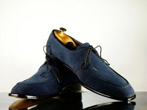 Handmade Men's Blue Suede Lace Up Derby Shoes, Men Designer Dress Formal Shoes