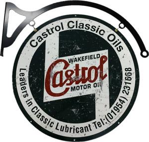 MASSIVE Castrol Motor Oil Rustic Metal Bar Wall Sign Man Cave Garage Workshop