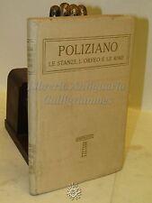 CLASSICI ITALIANI Poliziano: Le stanze, l'orfeo le rime - Disegni di Cambellotti
