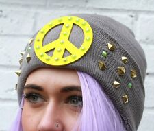 Gobbolino GIALLO Cnd Pace Ban the Bomb'90 CAPPELLO BEANIE STREET WEAR Indie Beanie