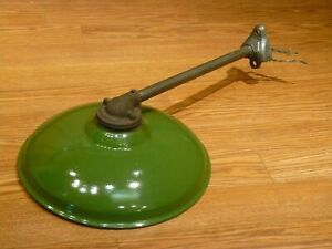 "ANTIQUE JACKSON 14"" GREEN PORCELAIN INDUSTRIAL BARN GAS STATION LIGHT WITH MOUNT"