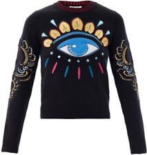 KENZO Black Lotus Eye Embroidered Sweater Size Large EUC Worn once