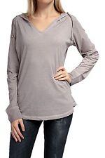 Hüftlange Langarm Damenblusen, - Tops & -Shirts mit Kapuze