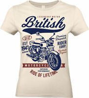 British Motorcycle T-Shirt Motorbike biker custom rider uk Womens T-Shirt Ladies