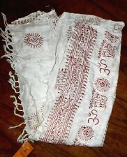 "Wrap Scarf Ivory Print Kathmandu Himalayan Hippy Handcrafted size 80x41"" New"
