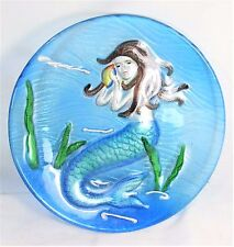 Mermaid Art Glass Plate Hand Painted Home Decor 9""