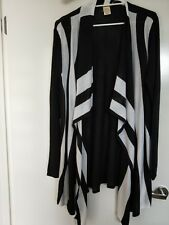 Knitted Cardigan Black & White / New Without Tag / Length 105cm - Size: 10 -12