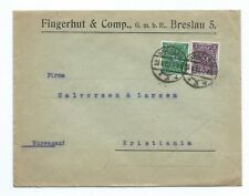 GERMANY: Cover Breslau to Norway, 1922. Arr.canc.