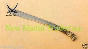 "25"" DAMASCUS CUSTOM HANDMADE RAM ANTLER HANDLE MACHETE SWORD"