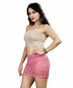See Through Pink Sheer Mini Skirt Womens Ladies Short High Waist Lace Party Club