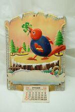 VINTAGE ADVERTISING CALENDAR TOP EMBOSSED CUCKOO BIRD DIECUT CZECH UNUSED 1930s