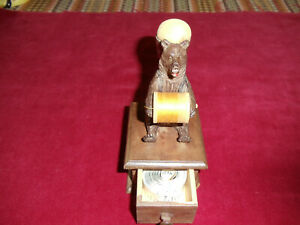 A black forest bear sewing etui with pincushion,reel holder and drawer