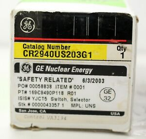 GE GENERAL ELECTRIC 3 POSITION MAINTAINED SELECTOR SWITCH CR2940US203G1
