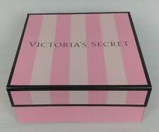 """Victoria's Secret Gift Box Empty Pink Stripe Small 7.25"""" x 7.25"""" x  3"""" New"""