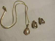 Beautiful Necklace & Clip Earring Set Gold Tone Rhinestones Cabochons Sign AVON